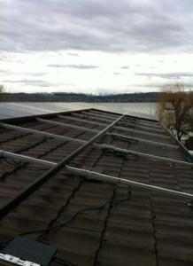 Pan de toiture Sud-ouest de l'annexe en cours de réalisation.